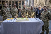 NEW YORK CITY, NY (April 23, 2017) - Lt. Gen Charles Luckey, Chief of the Army Reserve, and Sgt. 1st Class Joshua Moeller, 2016 Army non-comissioned officer of the year, celebrate the Army Reserve's 109th birthday at FOX Studios. (U.S. Army Photo by Cpl. Timothy Yao)