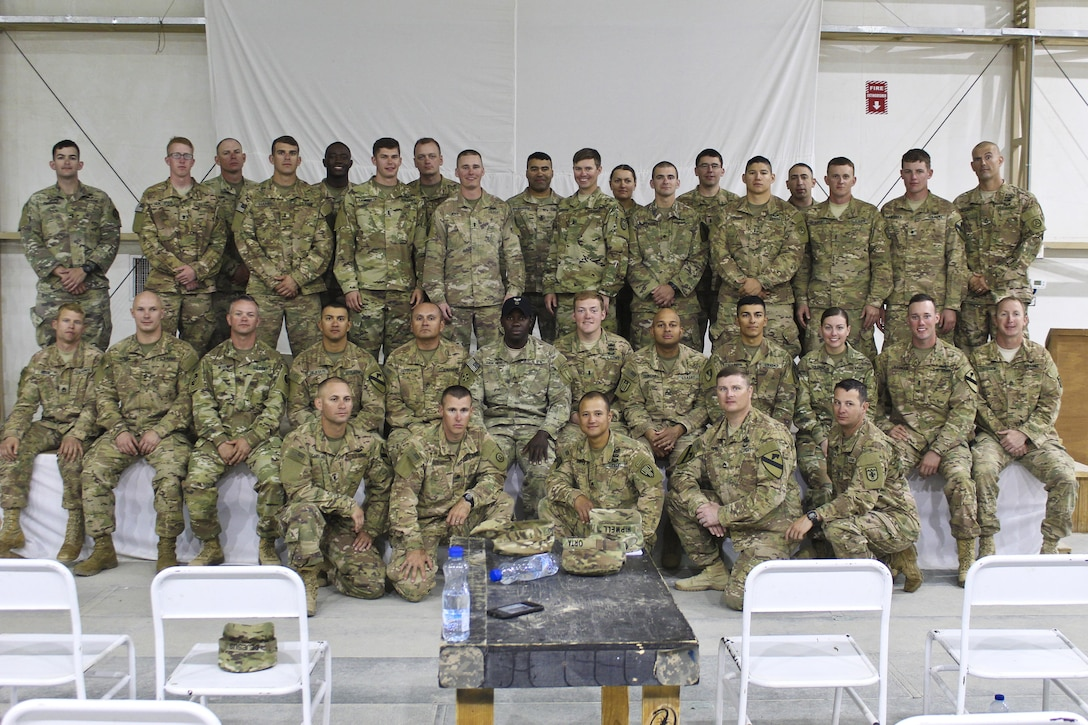 Soldiers pose after graduating from a Rappel Master Course at Camp Buehring, Kuwait, April 19, 2017. (U.S. Army photo by Sgt. 1st Class Al Gagow)