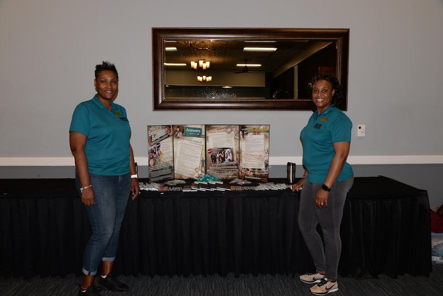Dr. Marcia Stewart, Sexual Assault Prevention and Response Program Manager, and Carla Neal-Bush, SAPR Victim Advocate, host SAPR Bingo at the Columbus Club April 26, 2017, Columbus Air Force Base, Mississippi. The SAPR office put on many events during the Sexual Assault Awareness Month including a 5K Run for Recovery, Strikeout Bowling and a Color Run.U.S. Air Force photo by Airman 1st Class Beaux Hebert)