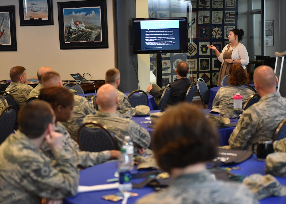 Brittany Thompson, a victims' advocate at the Helen Ross McNabb Center, briefs Airmen assigned to the Air National Guard's I.G. Brown Training and Education Center in east Tennessee, April 27, 2017, during a campus sexual assault awareness month luncheon. Base and TEC officials also scheduled a 5K run Saturday, April 29, as the nation's annual campaign on how to prevent sexual violence comes to a close. More than two dozen participants were expected at the run. (U.S. Air National Guard photo by Master Sgt. Mike R. Smith)