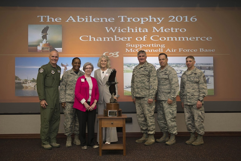 The Abilene Trophy is presented to the Wichita Metro Chamber of Commerce during a presentation at Scott Air Force Base, Illinois, April 28, 2017. The Abilene Trophy is awarded by the Abilene Chamber of Commerce's Military Affairs Committee to the AMC community that is most supportive of its local Air Force Base. (U.S. Air Force photo by Staff Sgt. Clayton Lenhardt)