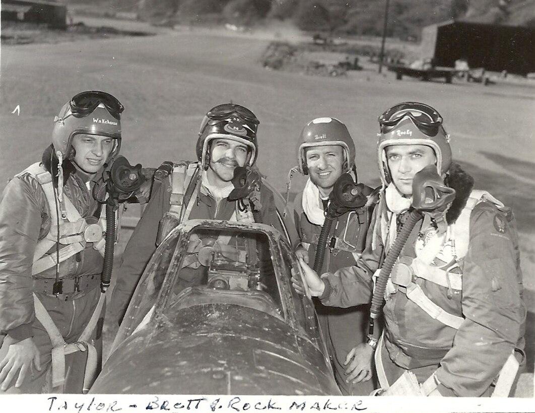 Zebra flight - Ernie, Johnny Taylor, Rock Brett, Fred Rockmaker, Korea, 1951