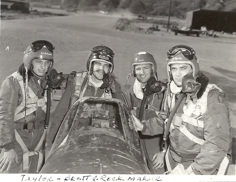Zebra flight - Ernie, Johnny Taylor, Rock Brett, Fred Rockmaker, Korea, 1951