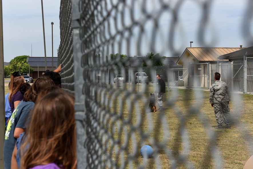 Children peek through a gate at the 17th Security Forces Squadron military dog training on Goodfellow Air Force Base, Texas, April 28, 2017. Various techniques and commands were shown to teach the children the situations security forces cops might experience. (U.S. Air Force photo by Airman 1st Class Caelynn Ferguson/ Released)