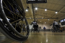 The Air Force wheelchair basketball team scrimmages during practice at Hurlburt Field, Fla., April 24, 2017. The team is composed of wounded warriors who compete against other Department of Defense teams. (U.S. Air Force photo by Airman 1st Class Dennis Spain)