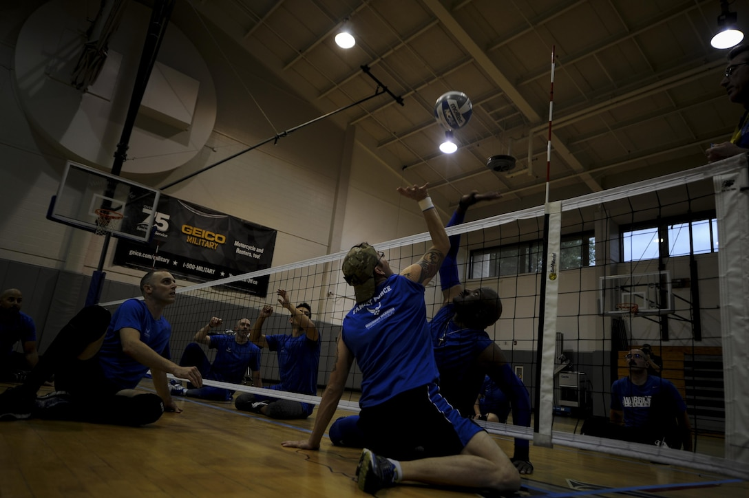 Members of the Air Force sitting volleyball team participate in a scrimage at Hurlburt Field, Fla., April 24, 2017. The scrimmage occurred during the first official practice of the 2017 season. (U.S. Air Force photo by Airman 1st Class Dennis Spain)