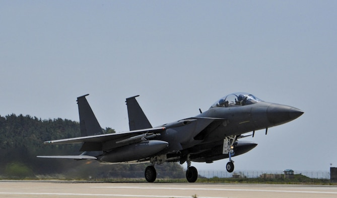 (April 27, 2017) - A Republic of Korea Air Force F-15K Slam Eagles from the 11th Fighter Squadron, Daegu Air Base, ROK, takes off during Exercise MAX THUNDER 17 at Kunsan Air Base, Republic of Korea, April 27, 2017. In Max Thunder, U.S. and ROK air forces consistently train together to be ready around-the-clock to defend the Republic of Korea. The interoperability and trust developed between the allies in training is critical to ensure U.S and ROK are prepared for any challenge.