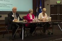 Dr. Joe Leverett, Pat Gallagher and Janet Cowley answer questions during a civic leader panel as part of Phoenix Rally at Scott Air Force Base, Illinois, April 28, 2017. The civic leader panel emphasized the role civic leaders and honorary commanders play in their respective communities. (U.S. Air Force photo by Staff Sgt. Clayton Lenhardt)