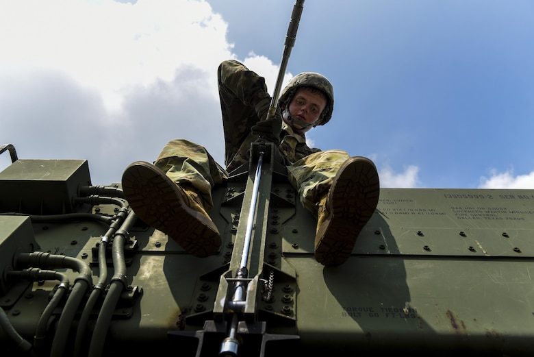 U.S. Army Pfc. Tyler Ankele, Alpha Battery, 2nd Battalion, 1st Air Defense Artillery Regiment patriot missile operator and maintainer, tightens a bolt during patriot missile system reload training at Kunsan Kunsan Air Base, Republic of Korea, July 27, 2017. Members of A/2-1 conducted training on operation, manning, sustainment, and employment of the Patriot Weapons system. (U.S. Air Force photo by Senior Airman Michael Hunsaker/Released).