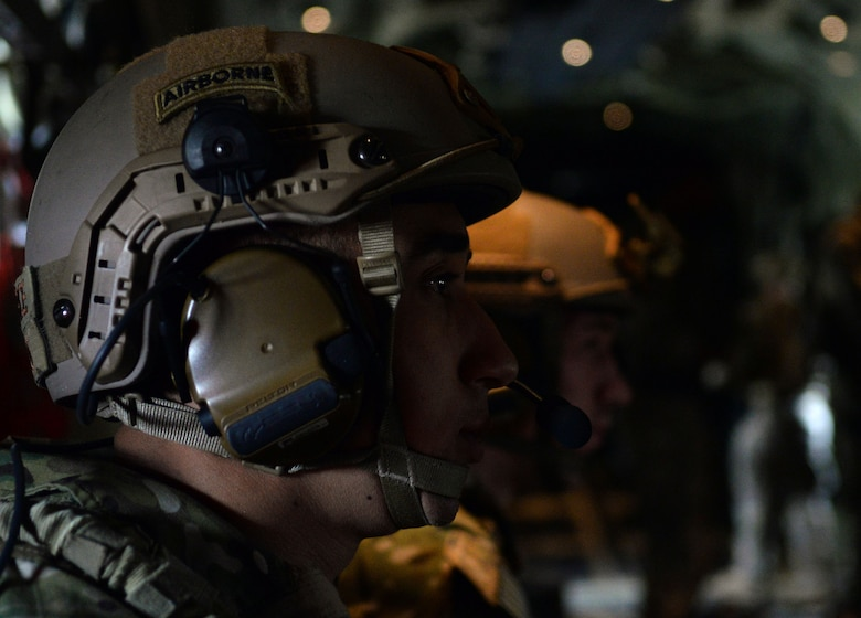 Two U.S. Air Force 352d Special Operations Squadron Deployed Aircraft Ground Response Element, or DAGRE, team members prepare for a Forward Arming and Refueling Point exercise July 26, 2017, on RAF Mildenhall, England. The DAGRE provides security for Air Force Special Operations aircraft transiting airfields where security is limited. (U.S. Air Force photo by Airman 1st Class Luke Milano)