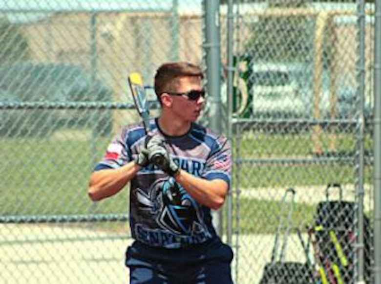 Senior Airman Patrick Asbell, 82nd Logistics Readiness Squadron logistics planner, competes with the Sheppard Senator softball team in the Band-Aid tournament in Colorado Springs, Colo., June 9-11, 2017. The Senator team will represent Sheppard Air Force Base, Texas, in the varsity B division in the Worlds Armed Forces Tournament Aug. 10-13, 2017. (U.S. Air Force courtesy photo)