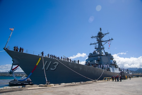 PEARL HARBOR (July 10, 2017) The future Arleigh Burke-class guided-missile destroyer USS John Finn (DDG 113) is pierside at Joint Base Pearl Harbor-Hickam in preparation for its commissioning ceremony. John Finn is named in honor of Lt. John William Finn, a chief aviation ordnanceman and the first member of the armed services to earn the Medal of Honor during World War II for heroism during the attack on Pearl Harbor. (U.S. Navy photo by Mass Ccommunication Specialist 3rd Class Justin R. Pacheco/Released)