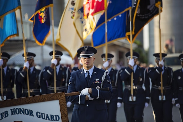 The Dover Air Force Base Honor Guard marches in the Delaware State Fair's Military Appreciation Day parade July 26, 2017, in Harrington, Del. Dover AFB is home to the 436th and 512th Airlift Wings, alongside several other mission partners. (U.S. Air Force photo by Capt. Bernie Kale)