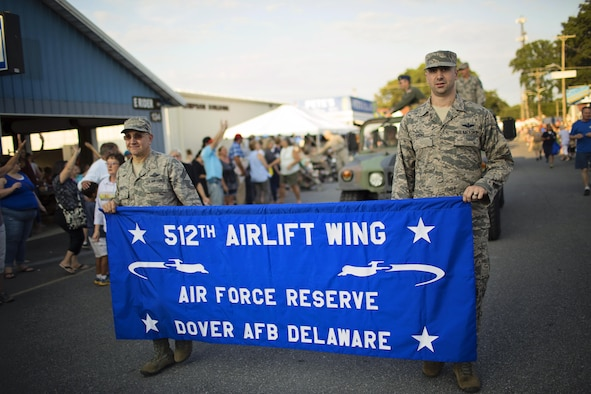 Airmen of the 512th Airlift Wing march in the Delaware State Fair's Military Appreciation Day parade July 26, 2017, in Harrington, Del. The 512th AW the Air Force Reserve mission partner based at Dover Air Force Base, Del. (U.S. Air Force photo by Capt. Bernie Kale)