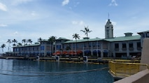 A view of the Aloha Tower in Honolulu, HI.
