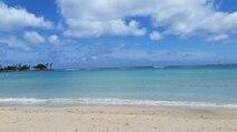 The iconic white sand beaches of Hawaii, taken near Waikiki.