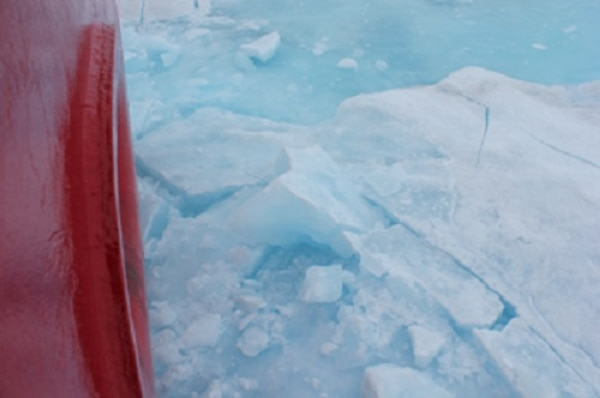 The multi-year, extremely thick ice that HEALY has battled through this week.