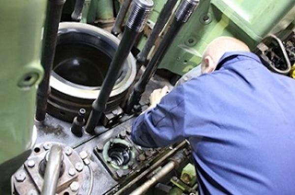 MK2 Jeff Bernard conducts repairs on the #3 Main Diesel Engine.