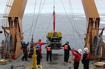 Deck Department deploying the ROV.