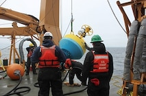 The Deck Department deploying a NOAA sonobuoy.