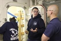 "DC2 Bradley Robinson instructs on ""K-type"" mechanical shoring."