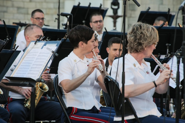 The Marine Band will perform outdoor summer concerts Wednesday, Aug. 2 and Thursday, Aug. 3, at 8 p.m. on the west terrace of the U.S. Capitol. (USMC photo by Master Sgt. Kristin duBois/released)