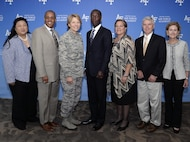 Lt. Gen. Michelle Johnson, the superintendent of the U.S. Air Force Academy (third from left) stands with six members of the Academy's Board of Visitors during their July 28, 2017, visit to the Academy. The board members are appointed by Congress and make recommendations on Academy issues to senior Air Force and Defense Department leaders. (U.S. Air Force photo/Bill Evans)