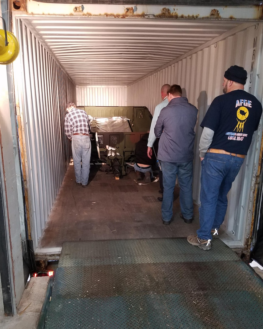A DLA Distribution Tobyhanna Team consisting of individuals from the Department of Public Works, Safety and the DLA Distribution Tobyhanna deputy were tasked to find a safe manner to secure and ship four cargo trailers in the most effective, efficient and best value method possible.