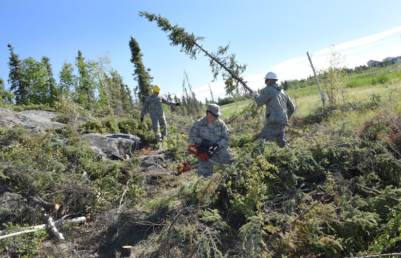 Oregon Airmen from the 142nd Fighter Wing Civil Engineer Squadron (CES) cut and clear a pathway to connect the trail around Niven Lake at Yellowknife, Northwest Territories, Canada, July 18, 2017. The CES members are spending two-weeks in Canada working on a variety of projects during their Deployment for Training (DFT). (U.S. Air National Guard photo/Master Sgt. John Hughel, 142nd Fighter Wing Public Affairs)