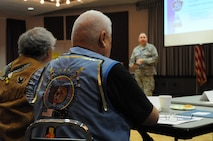 EIELSON AIR FORCE BASE, Alaska —Willie Lord and Victor Lord, members of the Nenana Native Council, listen as Lt. Col. John Oberst, commander 213th Space Warning Squadron, Clear Air Force Station, Alaska, welcomes the members of the Council to a tribal relations meeting at Clear, July 12, 2017. Air National Guard and Air Force leaders invited the Council members to the base in order to reestablish relations between the Alaskan Natives and the interior-Alaska base, located 24 miles from Nenana. (U.S. Air National Guard photo by Airman 1st Class Amber Bowers/Released)