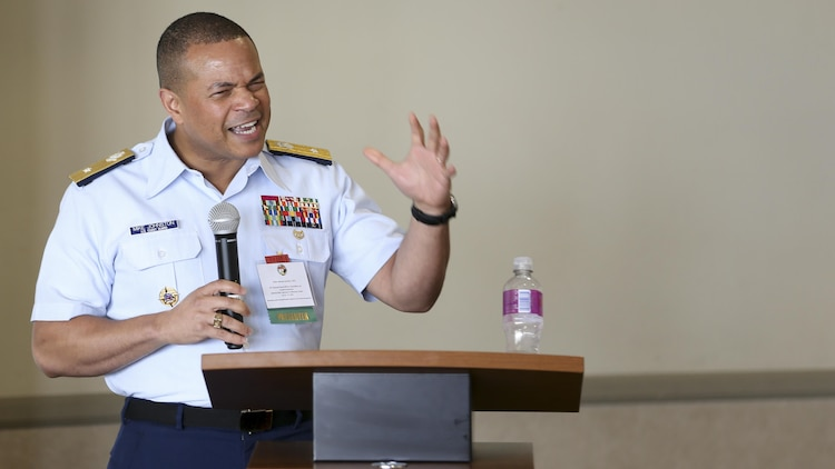 "U.S. Coast Guard Rear Adm. Mike Johnson, a presenter at the National Naval Officers Association Symposium (NNOA), gives a lesson titled 'Lead Where You Are' to fellow officers at the Admiral Kidd Catering & Conference Center, Naval Base Point Loma, Calif., July 26, 2017. The NNOA actively supports U.S. Marine Corps, Navy, Coast Guard and the National Oceanic and Atmospheric Administration in the recruitment, development and retention of a diverse Officer Corps that is representative of the best our nation has to offer. The theme of this year's symposium was ""Developing Leaders Through Education, Experience and Personal Development."" (U.S. Marine Corps photo by Pfc. Noah M. Rudash)"