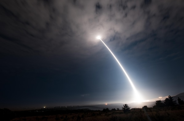 An unarmed Minuteman III intercontinental ballistic missile launches during an operational test at 2:10 a.m. Pacific Daylight Time Wednesday, Aug. 2, 2017, at Vandenberg Air Force Base, Calif. (U.S. Air Force photo by Senior Airman Ian Dudley/Released)