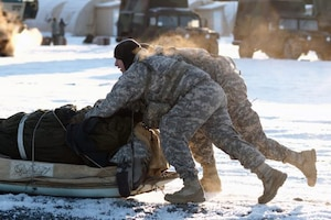 Soldiers push a sled in Alaska.