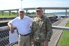 District Commander Col. Philip Secrist welcomed Marshall University President Dr. Jerome Gilbert for a tour of the Robert C. Byrd Locks and Dam.