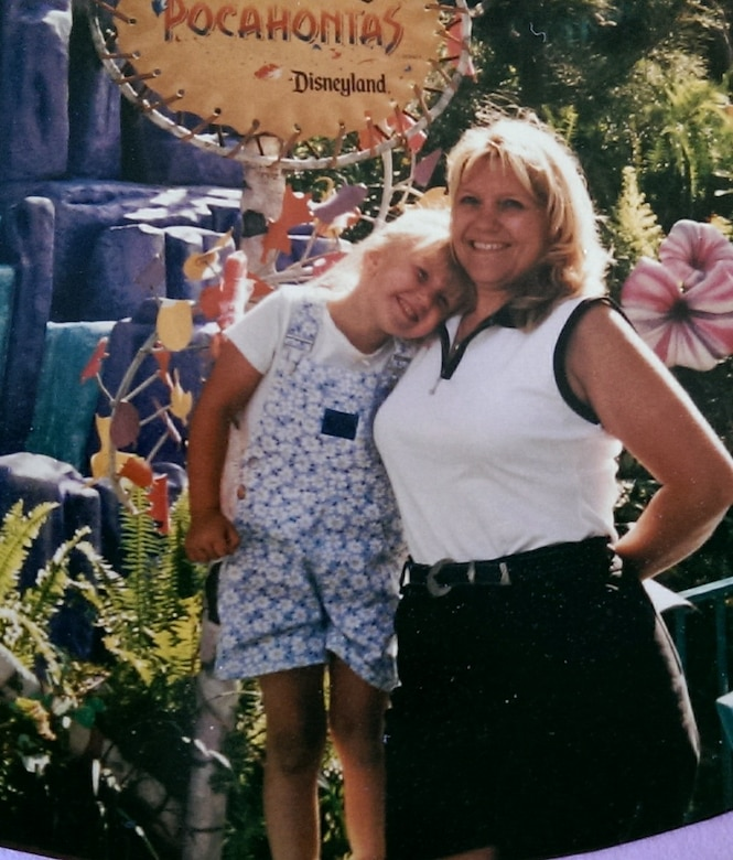 (From left) U.S. Air Force Staff Sgt. Brittany E.N. Murphy, 633rd Air Base Wing photojournalist, and her mom Mary Dudley pose for a photo at Disneyland in California.
