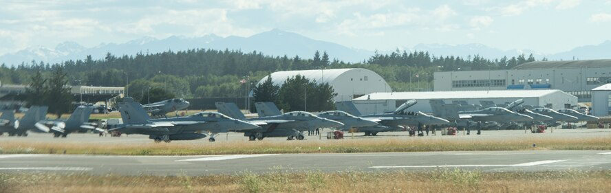 EA-18Gs sit on the flighline of Whidbey Island Naval Air Station, Wash., July 26, 2017. The EA-18Gs are an electronic warfare aircraft commonly known as Growlers. (U.S. Air Force photo by Senior Airman Jessica H. Smith/Released)
