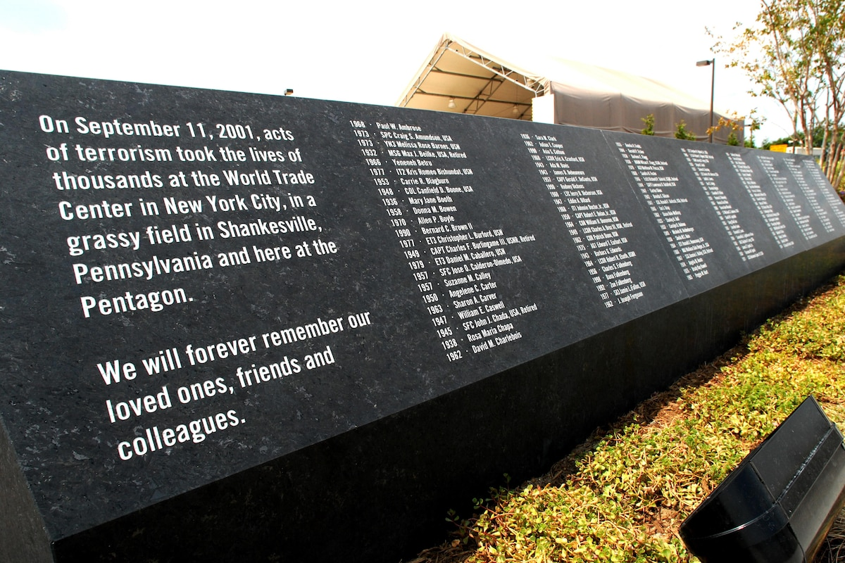 An entry stone at the Pentagon Memorial lists the names of 184 victims.