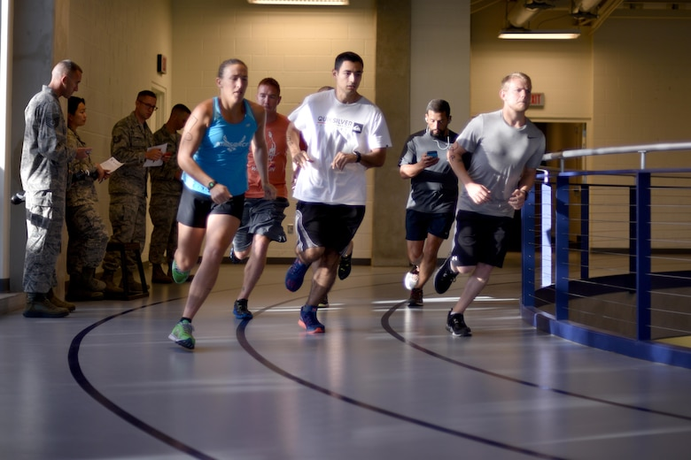 Participants begin the mile and a half run during San Angelo Special Ops Challenge in the Ben Kelly Center for Human Performance in San Angelo, Texas, July 29, 2017. Participants must complete the run in under 11 minutes to qualify for Special Operations. (U.S. Air Force photo by Airman 1st Class Randall Moose/Released)