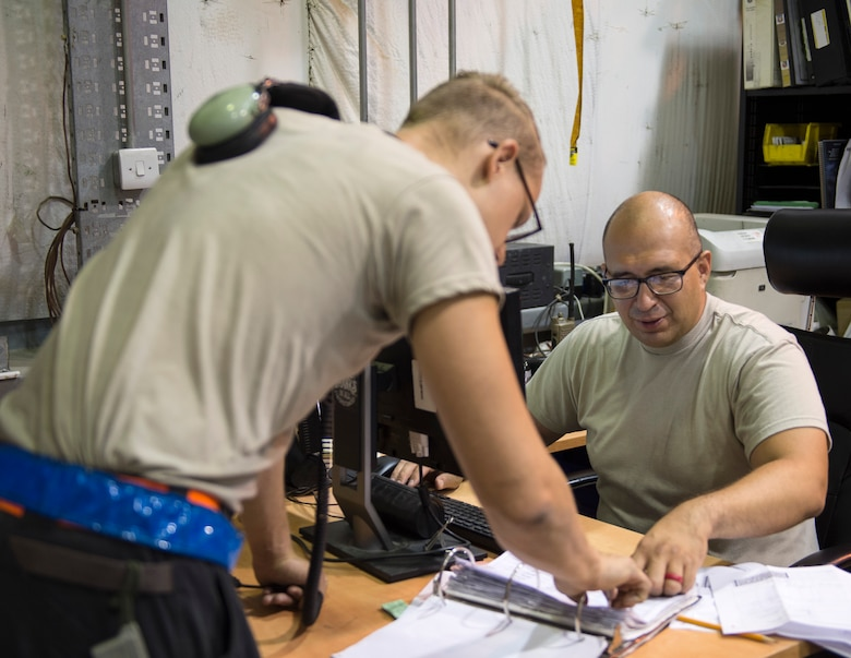 U.S Air Force Tech. Sgt. Juan Pacheco, right, a customer support liaison with the 763rd Expeditionary Aircraft Maintenance Unit, processes an order request for a part at Al Udeid Air Base, Qatar, July 27, 2017.