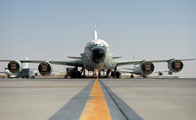 U.S. Air Force RC-135V/W Rivet Joint with the 763rd Expeditionary Reconnaissance Squadron sits on the flight line at Al Udeid Air Base, Qatar, July 28, 2017.