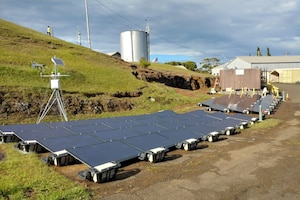 Solar panels on a mountain in Hawaii.