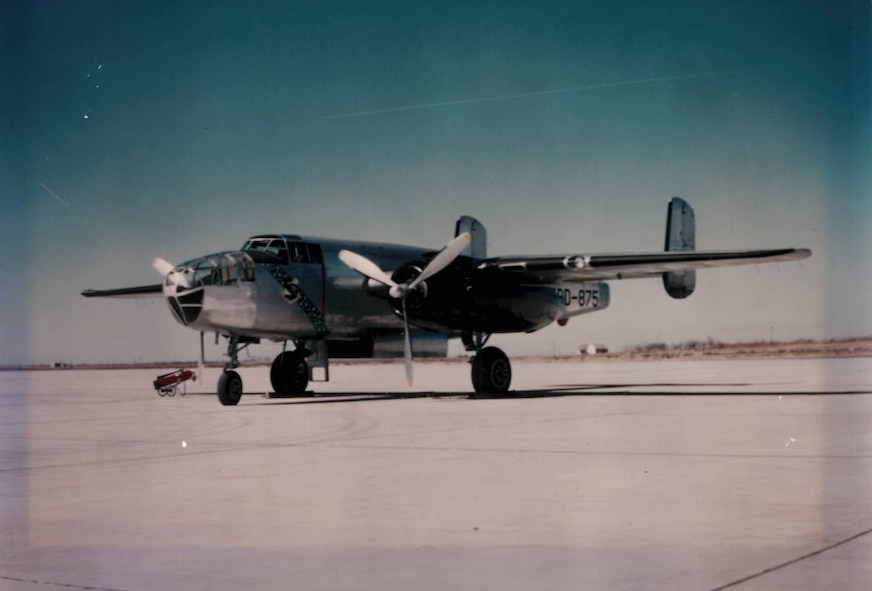 Maintainer of the B-25 visits his old plane