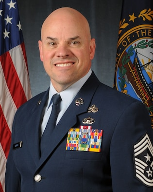 Official portrait of Air Force Chief Master Sgt. Matthew Heiman, wing command chief, June 8, 2017, Pease Air National Guard Base, N.H.