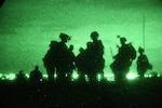 Night-vision view of soldiers