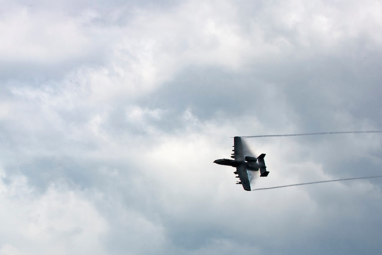 An A-10C Thunderbolt II conducts a show of force maneuver during training.