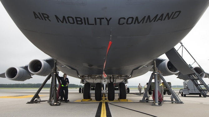 A C-5M Super Galaxy undergoes a nose landing gear maintenance operations check July 28, 2017, at Dover Air Force Base, Del. During the Air Mobility Command commander-directed stand-down, more than 200 Team Dover maintainers conducted extensive inspections to ensure the safety of Mobility Airmen and equipment. (U.S. Air Force photo by Senior Airman Zachary Cacicia)