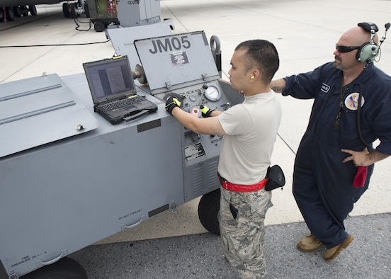 Master Sgt. Duane Lewis, 512th Maintenance Squadron aero repair craftsman, right, and Staff Sgt. Andrew Kim, 436th MXS aerospace maintenance journeyman, operate a hydraulic pumping unit to jack-up a C-5M Super Galaxy undergoing an operations check July 28, 2017, at Dover Air Force Base, Del. The C-5M's nose end was jacked up several inches so that the landing gear could fully extend and retract. (U.S. Air Force photo by Senior Airman Zachary Cacicia)