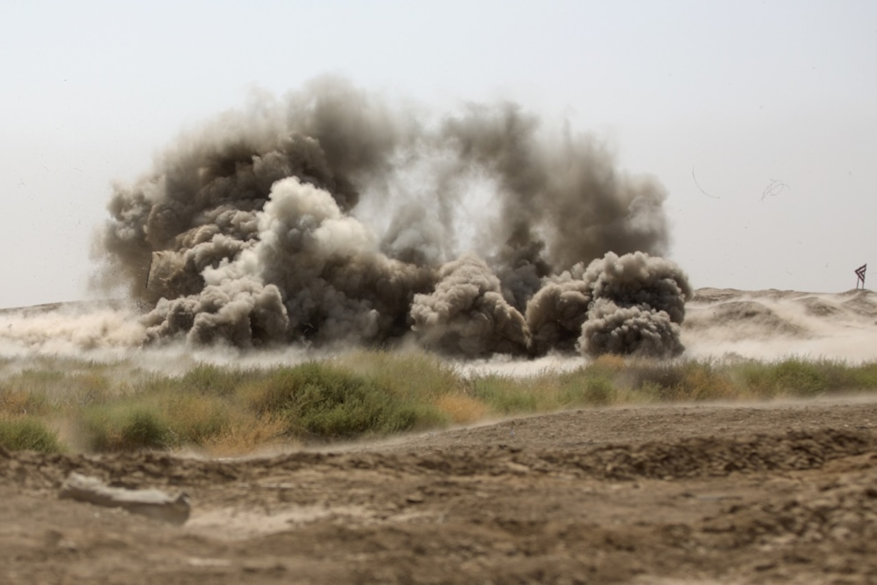 An anti-personnel obstacle breaching system destroys ordinance