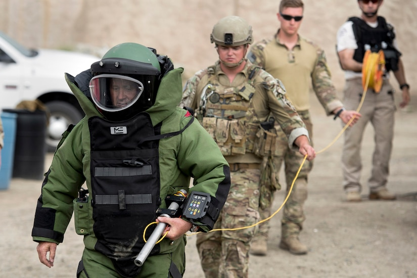 a combined military and police explosive ordnance disposal team