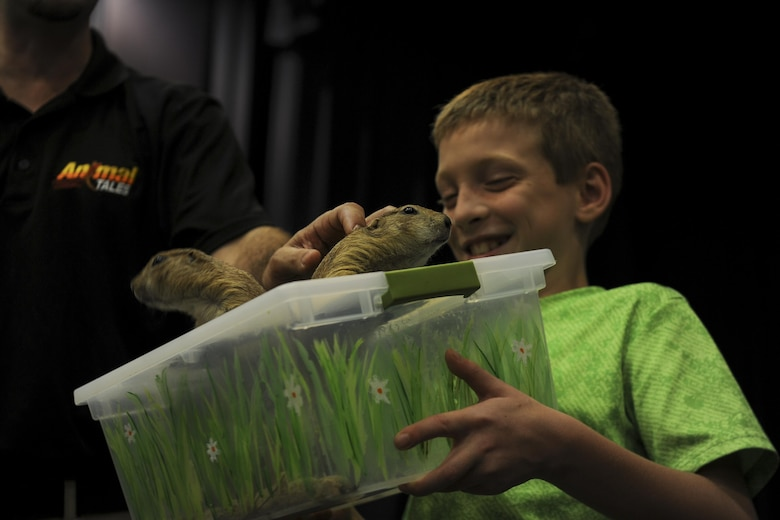 A kid holds two prairie dogs.